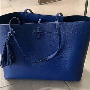 Tory Burch large shoulder tote bag in royal blue